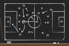 Free Soccer Strategy On The Black Board With Point Stick, Washcloth And Chalks. Drawing Tactical Scheme For Football Team. Soccer Royalty Free Stock Image - 174334136