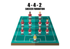 Soccer strategy 4-4-2 perspective pitch. Vector soccer strategy 4-4-2 tactic flat graphic Stock Image
