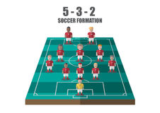 Soccer strategy 5-3-2 perspective pitch. Vector soccer strategy  5-3-2 tactic flat graphic Stock Images