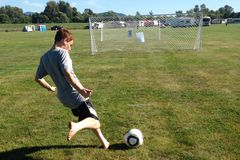 Soccer strike. A photo of a player striking the Royalty Free Stock Image
