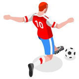Soccer Striker Player Athlete Sports Icon Set.Olympics 3D Isometric Field Soccer Match and Players.Sporting International Competit Royalty Free Stock Image