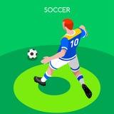 Soccer Striker Summer Games 3D Isometric Vector Illustration Stock Photos