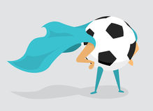 Soccer super hero ball with cape Royalty Free Stock Photo