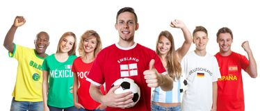 Soccer supporter from England with fans from other countries royalty free stock photo