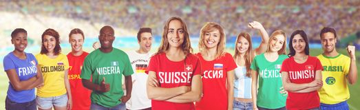 Soccer supporter from Switzerland with fans other countries at s royalty free stock image