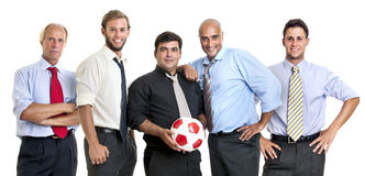 Soccer supporters. Team of businessmen with soccer ball Royalty Free Stock Photography