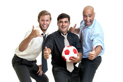 Soccer supporters. Team of businessmen with soccer ball Royalty Free Stock Image