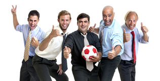 Soccer supporters. Team of businessmen with soccer ball Royalty Free Stock Images