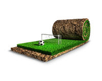 Soccer surreal concept. Soccer ball and goal post are on the turf carpet Stock Photography