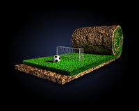 Soccer surreal concept. An imaginary soccer concept is modelled and rendered Royalty Free Stock Photos
