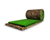 Soccer surreal concept. An imaginary roll of grass is modelled and rendered Stock Photo