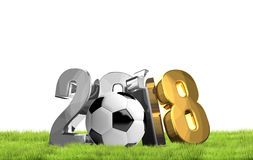 2018 soccer symbol silver and golden football 3d render Stock Image