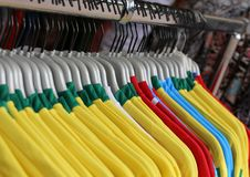 Soccer t-shirts for sale in the sports shop Royalty Free Stock Images