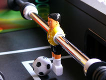 Soccer Table Keeper. Perspective view of the keeper on a soccer table game royalty free stock image