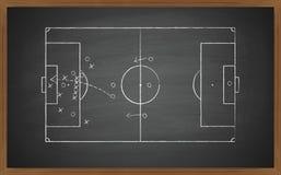 Soccer tactic on blackboard Stock Photo