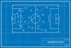Soccer tactic on blueprint Stock Photo