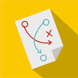 Soccer tactic paper icon, flat style Royalty Free Stock Image