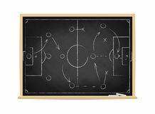 Soccer tactic scheme on chalkboard. Football team strategy for the game. Hand drawn soccer field background Royalty Free Stock Images