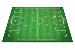 Soccer tactic table. With marks Stock Photo