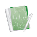 Soccer tactic table in note. Stock Photos