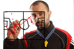 Soccer  tactical plan. Soccer manager drawing a tactical plan Stock Photo