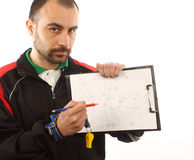 Soccer  tactical plan. Soccer manager drawing a tactical plan Stock Image
