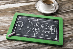 Soccer tactics on blackboard Stock Photo