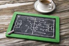 Soccer tactics on blackboard. Soccer tactics on chalkboard background Stock Photo