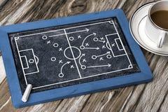 Soccer tactics on blackboard. Soccer tactics on chalkboard background Stock Images