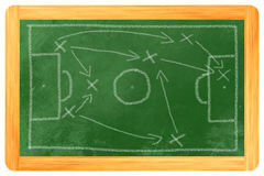Soccer tactics chalk on black Royalty Free Stock Photo