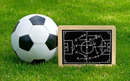 Soccer Tactics Chalkboard with Leather Ball Stock Photos