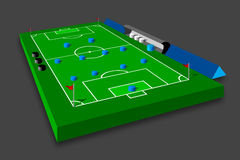 Soccer tactics on field. 3D  illustration of a soccer / football field with red corner flags, blue players in 4-4-2 formation, referees, coach and reserves Stock Photography