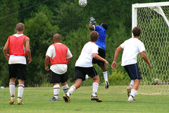 Soccer Team. Goalie going for the ball Royalty Free Stock Image