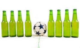 Soccer team. Of cold beer bottles before soccer game Stock Photo