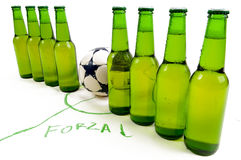 Soccer team. Build from cold beer bottles ready to play Stock Photo