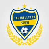 Soccer team badge blue and yellow color vector illustration