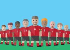 Soccer team captain. Vector soccer captain and team flat graphic stock illustration