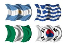 Soccer team flags group B Royalty Free Stock Photo