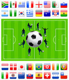 Soccer Team on Green Field Stock Image