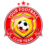 Soccer Team Logo. Vector logo representing a soccer team club with football ball in the middle vector illustration