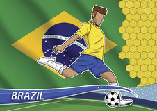 Soccer team player in uniform brazil. Stock Images