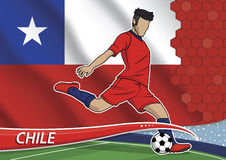 Soccer team player in uniform chile. Vector illustration of football player shooting on goal. Soccer team player in uniform with state national flag of chile Royalty Free Stock Image