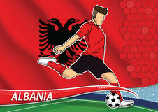 Soccer team player in uniform with state national flag of albani Stock Photos