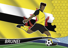 Soccer team player in uniform with state national flag of brunei Royalty Free Stock Images