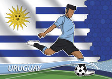 Soccer team player in uniform uruguay Royalty Free Stock Photo