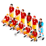 Soccer Team Players Athlete Sports Icon Set.3D Isometric Soccer Match Team Players.Sporting International Competition Championship. Olympics Sport Soccer Royalty Free Stock Photo