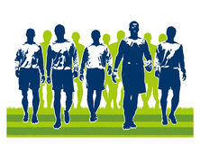 Soccer team players going to match. Silhouettes of soccer team players going to match stock illustration
