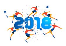 Soccer team poster of 2018 quote for sport event. Festive poster design for a 2018 sport event. Soccer player team running at ball with confetti background and Stock Image