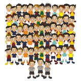 Soccer team set all cartoon Royalty Free Stock Image