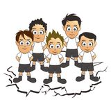 Soccer team set white cartoon Stock Photography